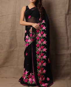 Knockout Black Colour Georgette Satin Ribbon With Pink Flower Design Saree Blouse
