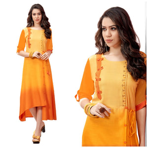 Gorgeous Mustard Color Long Rayon Embroidered Hand Work Kurti