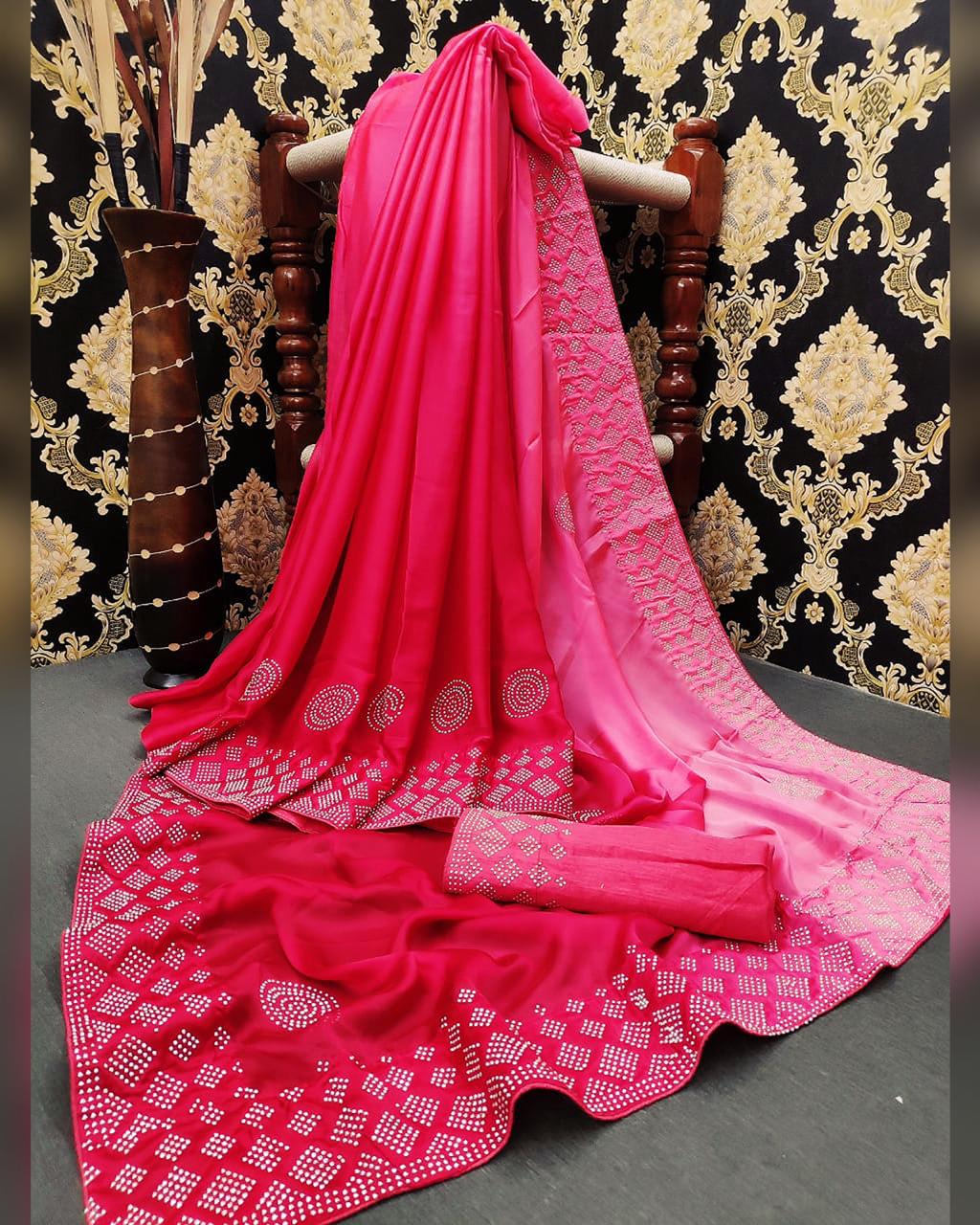 Outstanding Captivation Pink Color Party Wear Satin Silk Diamond Stone Work Saree Blouse