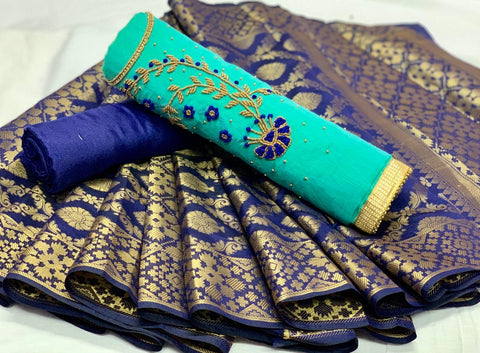 Beauteous Aqua Color Chanderi Cotton Daman Moti Khatali Hand Work Salwar Suit