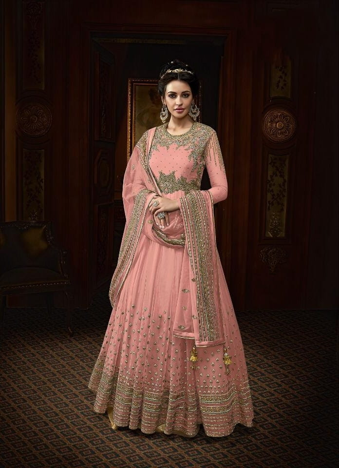 Magnificent Peach Color Designer Butterfly Net Thread Viscous Work Salwar Suit