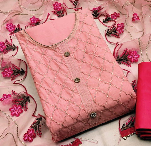 Alluring Pink Color Party Wear Modal Chanderi Embroidered Work Salwar Suit