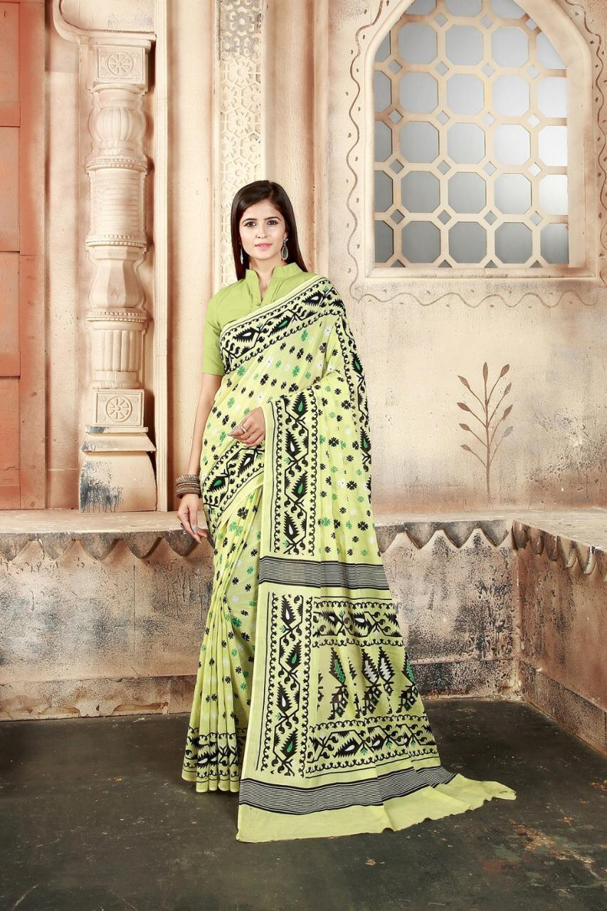 Beauteous Applegreen Color Festive Wear Pure Cotton Block Printed Saree Blouse