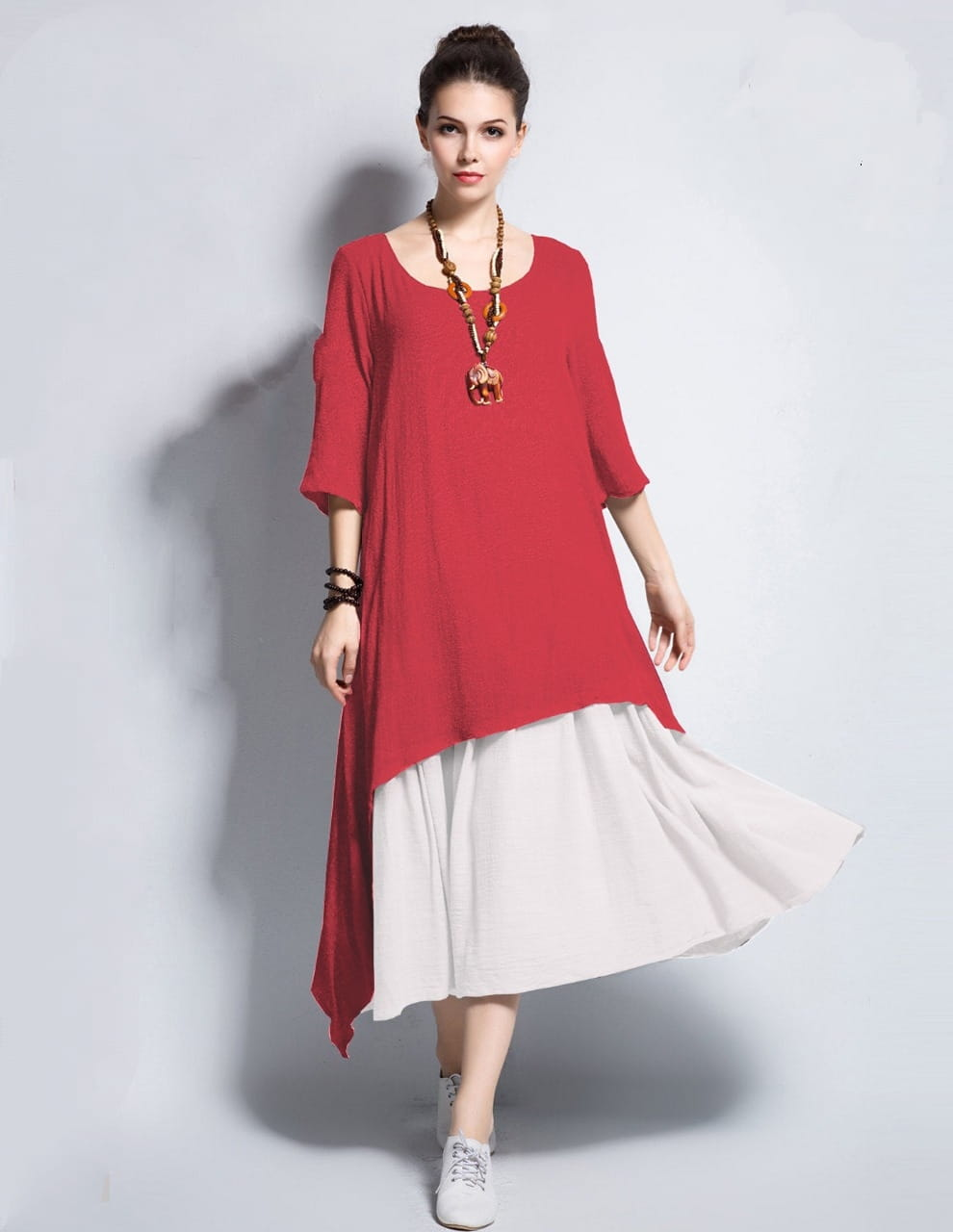 Carmine Color Cotton Ready Made Chaniya And Top For Women