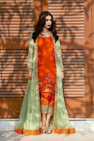 Captivation Orange Color Stylish Georgette Full Stitched Embroidered Work Indo Western Suit