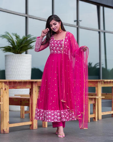 Functin Wer Rani Pink Color Ready Made Embroidered Work Georgette Salwar Suit
