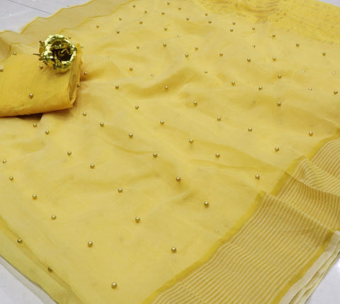 Dazzling Yellow Color Designer Tone To Tone Pearl Work Cotton Designer Saree Blouse For Wedding Wear
