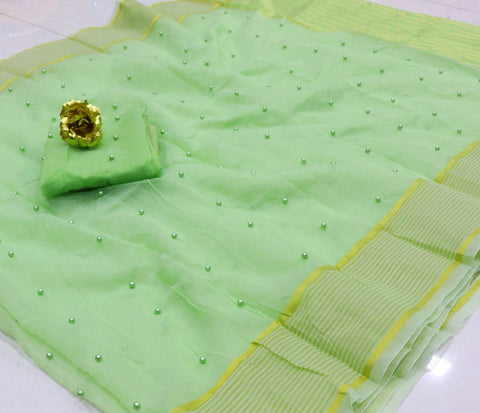Refreshing Light Green Color Designer Festive Wear Cotton Kota Doriya Tone To Tone Pearl Work Designer Saree Blouse for women