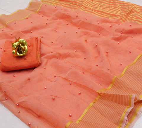 Good looking Peach Color Wedding Wear Pearl Tone To Tone Work Kota Doriya Cotton Fancy Designer Saree Blouse