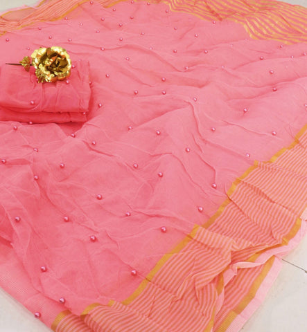 Delightful Light Pink Color Function Wear Designer Cotton Pearl Tone To Tone Work Kota Doriya Designer Saree Blouse