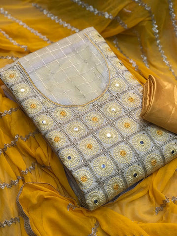 Entrancing Mustard Color Designer Modal Silk Embroidered Semi Modar Chex Work Salwar Suit For Festive Wear