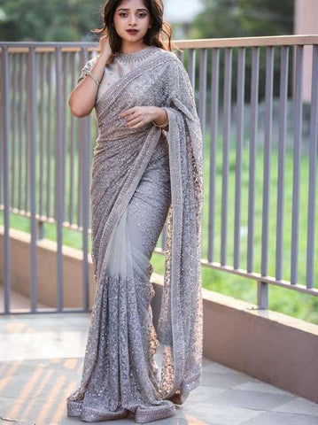 Stunning Grey Color Designer Soft Net Chain Stitch Stone Fancy Work Wedding Wear Designer Saree Blouse