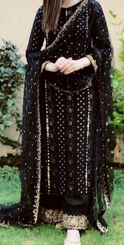 Attractive Black Color Designer Georgette Embroidered Work Plazo Salwar Suit For Party Wear