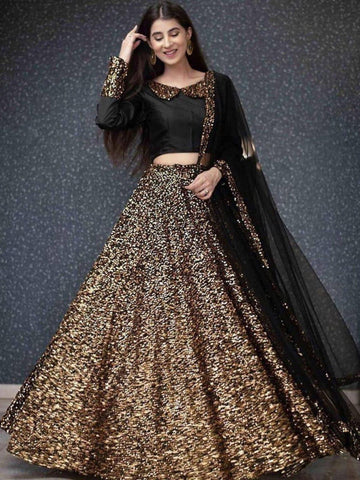 Stunning Golden Color Designer Sequence Work Beautiful Velvet Lehenga Choli For Function Wear