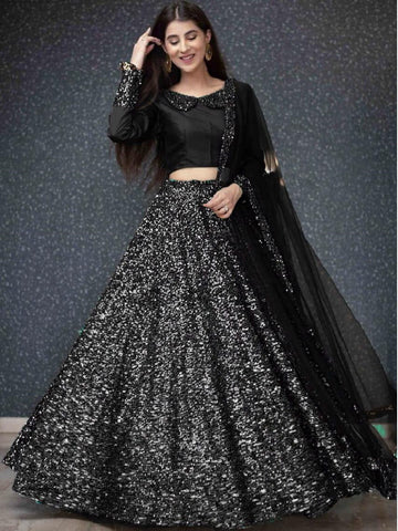 Fabulous Black Color Festive Wear Velvet Fancy Sequence Work Lehenga Choli for women