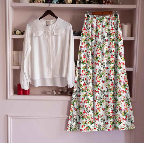 Surpassing White Color Ready Made Cotton Digital Printed Designer Skirt Top For Festive Wear