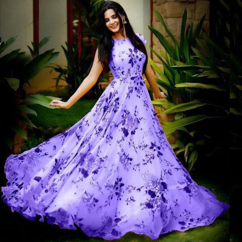 Adorable Violet Color Festive Wear Full Stitched Digital Printed Heavy Crape Gown for women