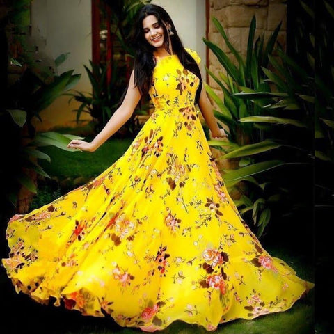 Trendy Yellow Color Ready Made Heavy Crape Designer Printed Digital Gown For Function Wear
