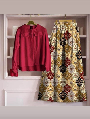 Amazing Maroon Color Ready Made Rayon Digital Printed Skirt Top For Party Wear