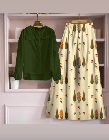 Astonishing Green Color Fancy Digital Printed Rayon Full Stitched Top Skirt For Casual Wear