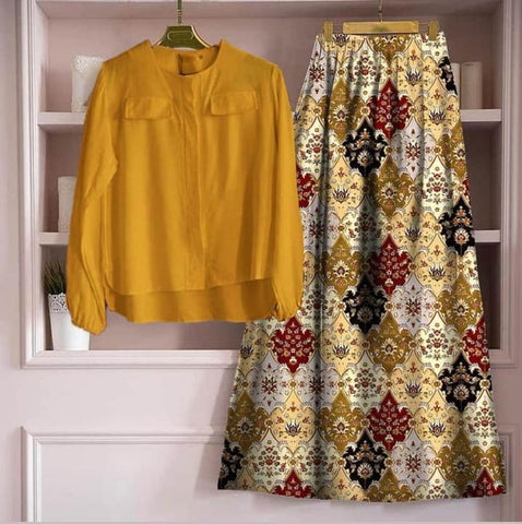 Stunning Mustard Color Ready Made Digital Printed Rayon Festive Wear Skirt Top for women