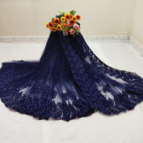 Preferable Wear Navy Blue Color Designer Chain Stitch Hand Stone Work Mono Net Designer Saree Blouse