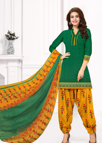 Extraordinary Dark Green Color Fancy Leyon Printed Salwar Suit For Party Wear