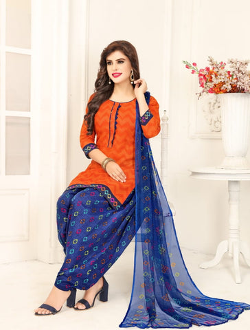 Classy Orange Color Casual Wear Leyon Fancy Printed Salwar Suit