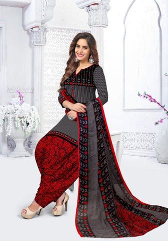 Opulent Grey Color Leyon Printed Designer Party Wear Salwar Suit