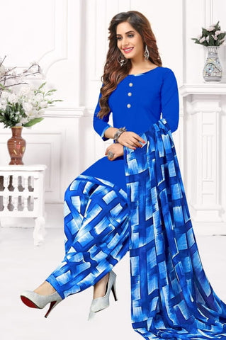 Stunning Blue Color Fancy Leyon Printed Casual Wear Salwar Suit for women