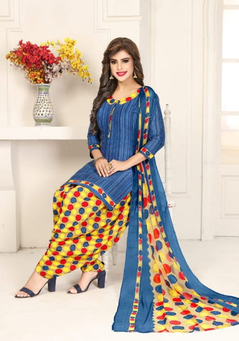 Intricate Navy Blue Color Women Wear Leyon Fancy Printed Salwar Suit