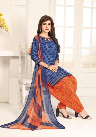 Stupefying Dark Blue Color Beautiful Printed Leyon Festive Wear Salwar Suit for women