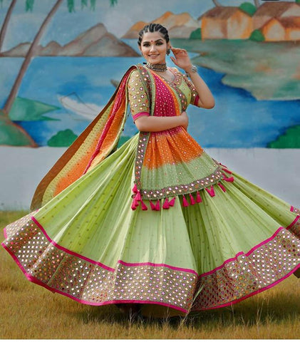Dazzling Light Green Color Designer Real Mirror Work Digital Printed Soft Silk Lehenga Choli For Wedding Wear