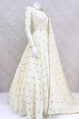 Graceful Off White Color Designer Georgette Chain Stitch Work Anarkali Salwar Suit For Festive Wear