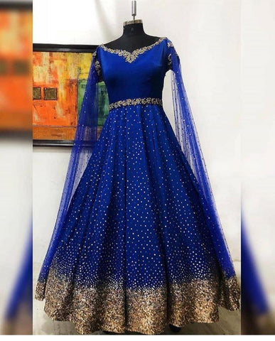 Appealing Royal Blue Color Designer Tapetta Silk Sequence Work Anarkali Salwar Suit For Wedding Wear