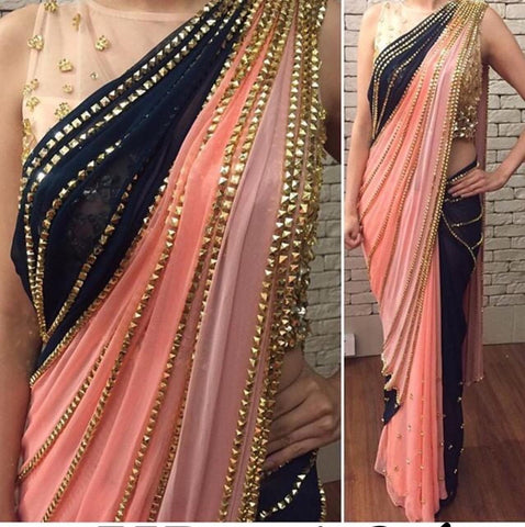 Gorgeous Peach Color Designer Georgette Sequence Ready Made Lace Stitching Work Designer Saree Blouse For Wedding Wear