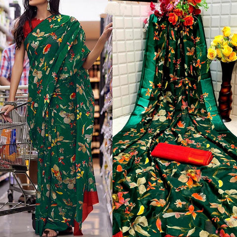 Shattering Dark Green Color Festive Wear Satin Cotton Rich Printed Patta Designer Saree Blouse For Online