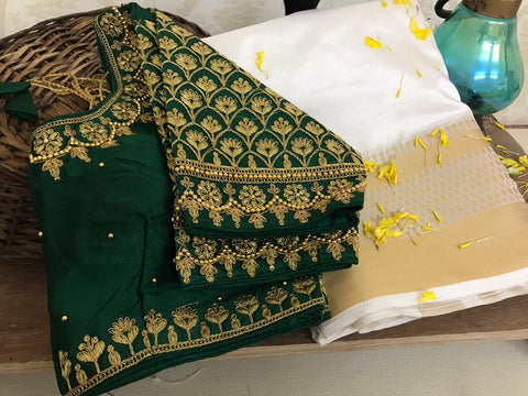 Majesty Dark Green Color Designer Weaving Chit Pallu Nylon Raw Silk Designer Saree Ready Made Blouse For Party Wear