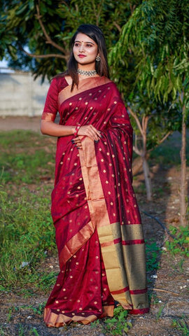 Remarkable Maroon Color Cotton Silk Fancy All Over Weaving Zari Design Saree Blouse
