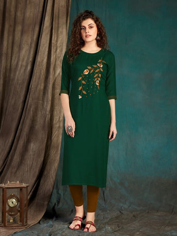Festive Wear Dark Green Slub Rayon Designer Embroidered Work Full Stitched Kurti
