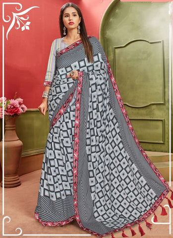 Grey Color Embroidered Lace Work Cotton Designer Saree Blouse For Function Wear