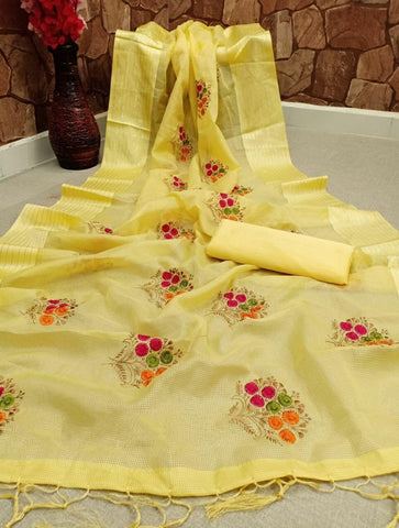Yellow Color Cotton Satin Patta Multi Embroidered Work Latkan Designer Saree Blouse Party Wear
