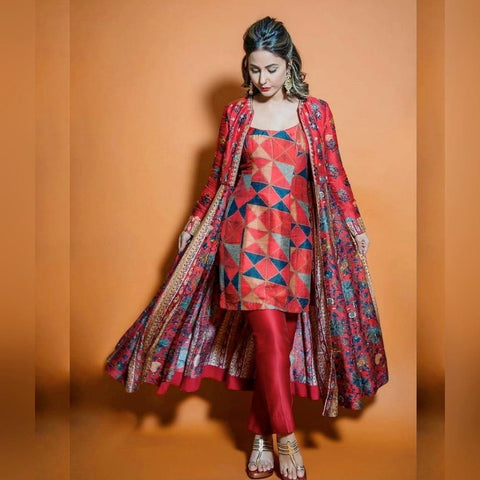 Multi Color Designer Full Stitched Italian Silk Heavy Digital Printed Indo Western