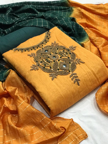 Mustard Color Designer Chanderi Silk Fancy Work Salwar Suit