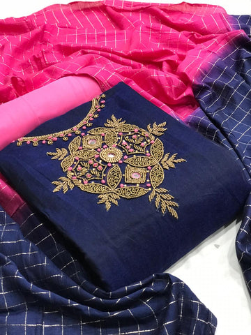 Navy Blue Color Chanderi Silk Designer Fancy Work Salwar Suit