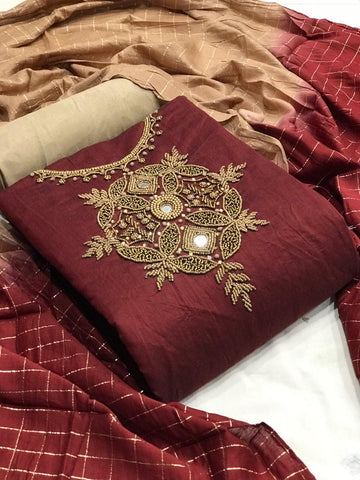 Maroon Color Occasion Wear Fancy Work Chanderi Silk Dress Material