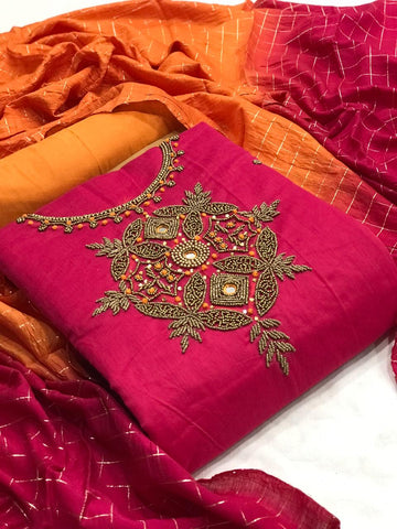 Rani Pink Color Festive Wear Fancy Work Chanderi Silk Salwar Suit