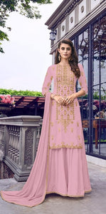 Old Rose Color Heavy Faux Georgette Chappat Badla Thread Embroidered Cording Stich Work Plazo Salwar Suit For Women