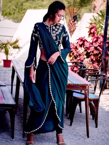 Indo Wester Half Saree With Blouse and Bottom For Women