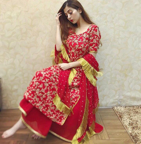 Surpassing Red Color Full Stitched Tapetta Silk Codding Work Wedding Wear Plazo Salwar Suit For Women